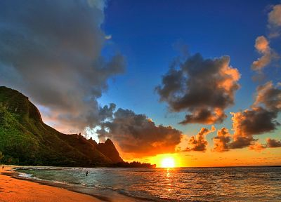 sunset, ocean, landscapes, Hawaii, sea - related desktop wallpaper