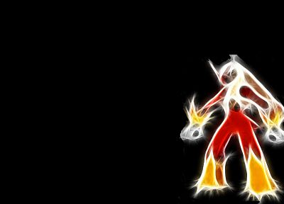 Pokemon, Blaziken, black background - desktop wallpaper