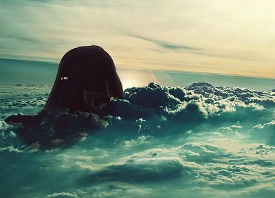 clouds, landscapes, nature, Darth Vader, rocks, oceans - desktop wallpaper