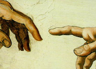 paintings, hands, Michelangelo, The Creation of Adam - related desktop wallpaper