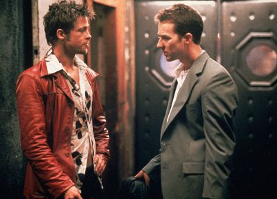 Fight Club, Brad Pitt, Edward Norton, screenshots - related desktop wallpaper