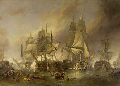 paintings, sail ship, The Battle of Trafalgar, sea - desktop wallpaper