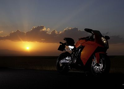 sunset, KTM RC8, 2008, motorbikes - desktop wallpaper
