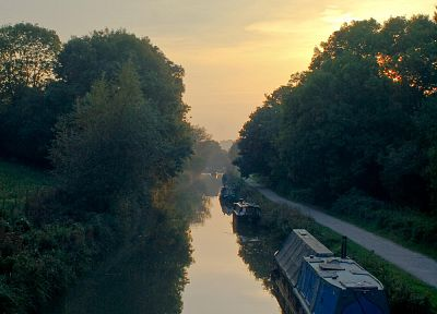 sunset, clouds, landscapes, trees, England, forests, Europe, boats, United Kingdom, canal - random desktop wallpaper
