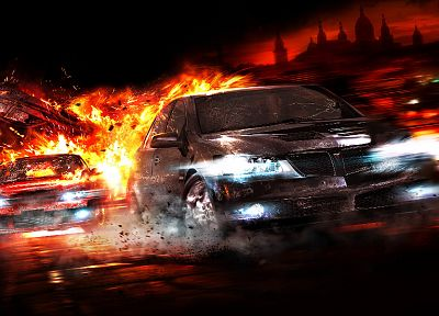 cars, explosions, Pontiac, police cars, Wheelman - random desktop wallpaper