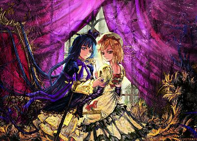 women, witch, dress, purple, Umineko no Naku Koro ni, anime, Frederica Bernkastel, Lambdadelta - random desktop wallpaper