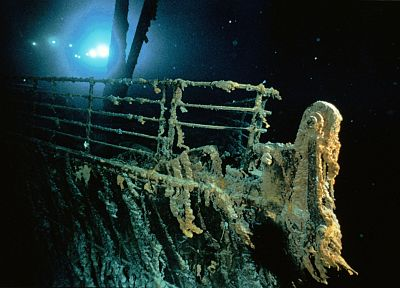 Titanic, bows, vehicles, underwater, railing, shipwreck - duplicate desktop wallpaper