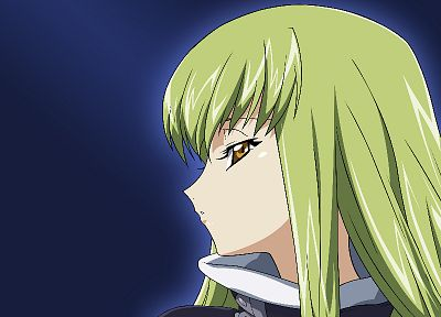 Code Geass, long hair, green hair, yellow eyes, C.C., simple background - related desktop wallpaper