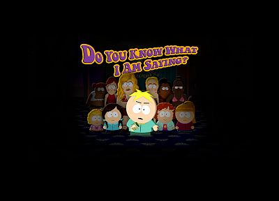 South Park, text, black background, Butters Stotch - random desktop wallpaper