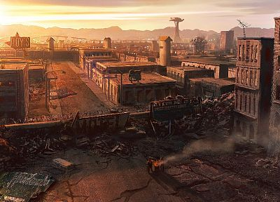 ruins, cityscapes, post-apocalyptic, Las Vegas, artwork - random desktop wallpaper