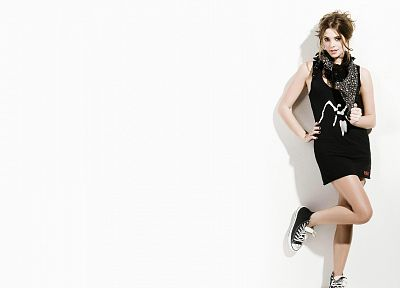 brunettes, legs, women, dress, actress, feet, Converse, Ashley Greene, simple background, white background - desktop wallpaper