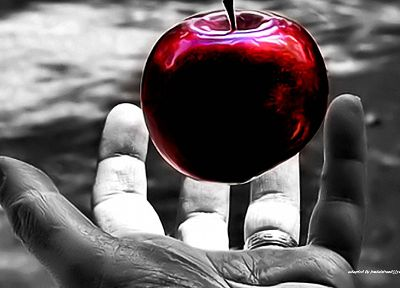 red, hands, selective coloring, apples - random desktop wallpaper