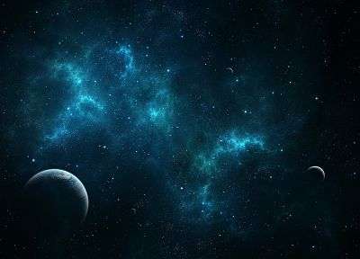 blue, outer space, stars, planets, Earth, stardust, digital art, artwork, cosmic dust - desktop wallpaper