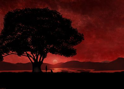 sunset, landscapes, nature, trees, Jigoku Shoujo - related desktop wallpaper
