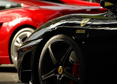 close-up, cars, Ferrari, vehicles, wheels, depth of field, races, racing cars, speed, automobiles - random desktop wallpaper