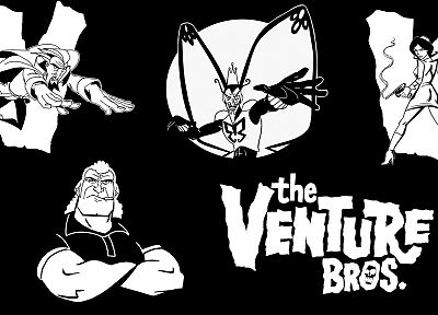 guns, The Venture Bros., monochrome, cigarettes, butterfly wings, The Monarch, Dr. Girlfriend, Brock Samson, Dr. Orpheus - related desktop wallpaper