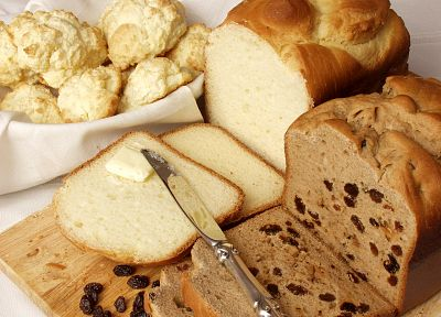 food, bread, knives, butter, dried fruits - random desktop wallpaper