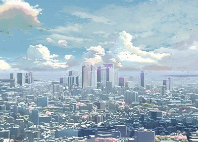 cityscapes, buildings, Makoto Shinkai, 5 Centimeters Per Second - random desktop wallpaper