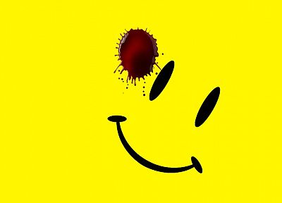 Watchmen, yellow, smiley face - random desktop wallpaper