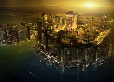 video games, cityscapes, futuristic, architecture, buildings, artwork, Deus Ex: Human Revolution - desktop wallpaper