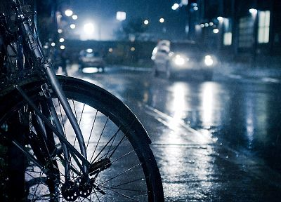 streets, rain, cars, bicycles - related desktop wallpaper