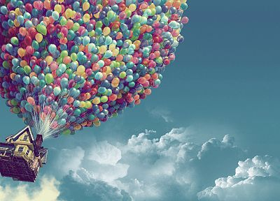 clouds, Pixar, houses, Up (movie), balloons, skyscapes - desktop wallpaper