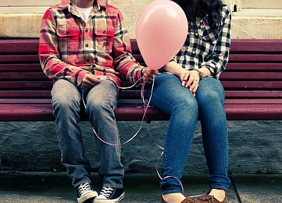 women, love, bench, balloons - related desktop wallpaper