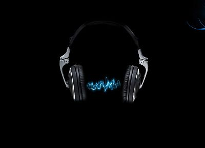 headphones, music, simple background, black background - related desktop wallpaper