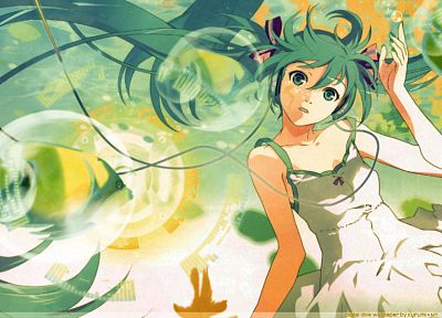 headphones, Vocaloid, dress, Hatsune Miku, long hair, bubbles, green eyes, green hair, twintails, bows, white dress, anime girls, wires, hair ornaments, bare shoulders - desktop wallpaper