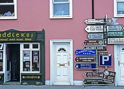 urban, Ireland, roadsigns, shop - related desktop wallpaper
