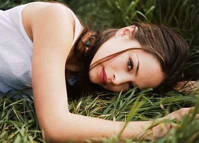 women, grass, Kristin Kreuk - random desktop wallpaper
