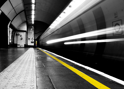 trains, urban, subway, tunnels, vehicles, selective coloring - related desktop wallpaper