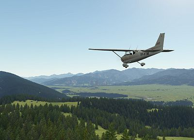 video games, aircraft, Outerra, Cessna, aviation, terrain, flight simulator X - random desktop wallpaper