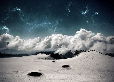 mountains, clouds, digital art, skyscapes - desktop wallpaper