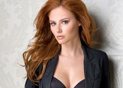 women, black, redheads, bra, Alyssa Campanella - random desktop wallpaper