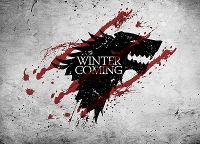 red, white, crest, Game of Thrones, direwolf, House Stark, wolves - random desktop wallpaper