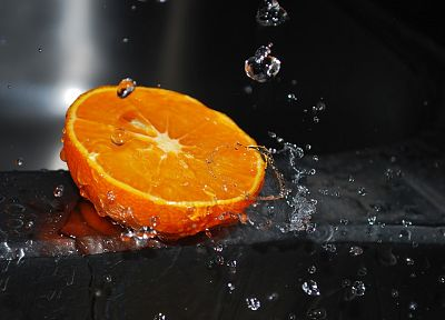 fruits, oranges, water drops, macro, selective coloring - desktop wallpaper