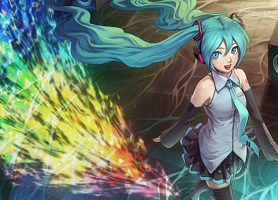 music, Vocaloid, Hatsune Miku, tie, long hair, speakers, blue hair, twintails, miniskirts, anime girls, detached sleeves, colors - related desktop wallpaper