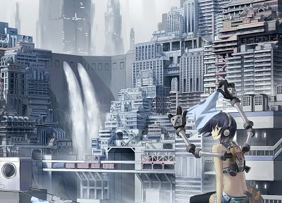 headphones, cityscapes, futuristic, artwork, anime girls - random desktop wallpaper