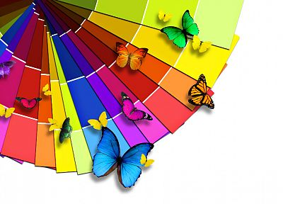multicolor, rainbows, butterflies - desktop wallpaper