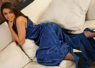 women, couch, stockings, high heels, blue dress, Bryoni-Kate Williams - desktop wallpaper