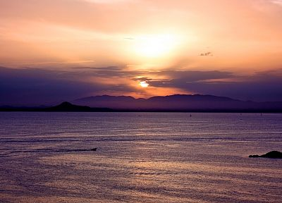 sunset, mountains, ocean, landscapes, sea, beaches - random desktop wallpaper