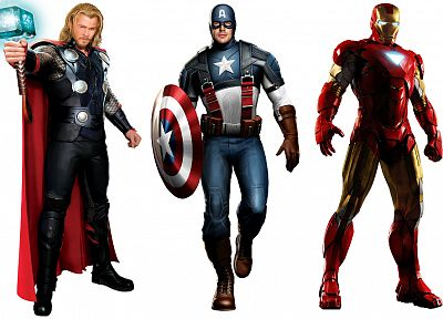 Iron Man, Thor, Captain America, artwork, Chris Evans, Marvel, Chris Hemsworth, The Avengers (movie), white background - related desktop wallpaper