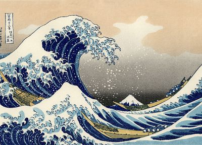 Japan, paintings, Welle, Hafen, The Great Wave off Kanagawa, Katsushika Hokusai, Thirty-six Views of Mount Fuji - random desktop wallpaper