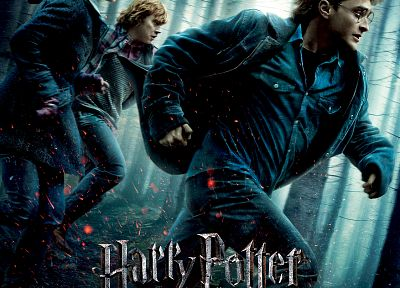 Emma Watson, Harry Potter, Harry Potter and the Deathly Hallows, Daniel Radcliffe, Rupert Grint, Hermione Granger, movie posters, Ron Weasley, men with glasses - random desktop wallpaper