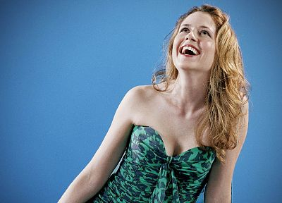 women, blue, Jenna Fischer - random desktop wallpaper