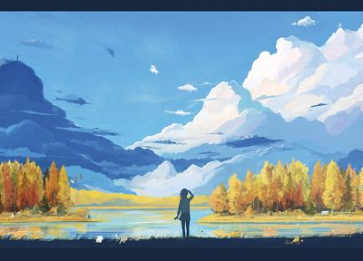 clouds, landscapes, trees, silhouettes, scenic, ArseniXC, original characters - related desktop wallpaper