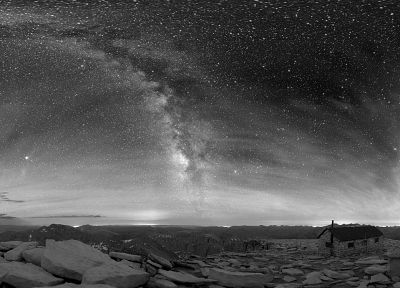 landscapes, stars, grayscale, monochrome - related desktop wallpaper