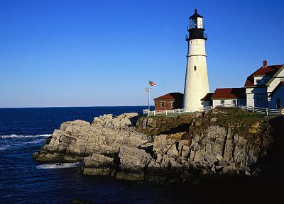ocean, cliffs, lighthouses, Portland Headlight - random desktop wallpaper