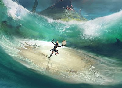 video games, concept art, artwork, From Dust, sea - desktop wallpaper